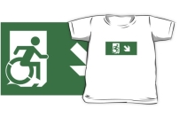 Accessible Means of Egress Icon Exit Sign Wheelchair Wheelie Running Man Symbol by Lee Wilson PWD Disability Emergency Evacuation Kids T-shirts 80