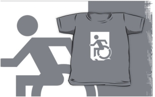 Accessible Means of Egress Icon Exit Sign Wheelchair Wheelie Running Man Symbol by Lee Wilson PWD Disability Emergency Evacuation Kids T-shirts 81