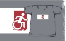 Accessible Means of Egress Icon Exit Sign Wheelchair Wheelie Running Man Symbol by Lee Wilson PWD Disability Emergency Evacuation Kids T-shirts 84