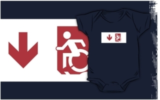 Accessible Means of Egress Icon Exit Sign Wheelchair Wheelie Running Man Symbol by Lee Wilson PWD Disability Emergency Evacuation Kids T-shirts 89
