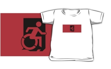 Accessible Means of Egress Icon Exit Sign Wheelchair Wheelie Running Man Symbol by Lee Wilson PWD Disability Emergency Evacuation Kids T-shirts 9