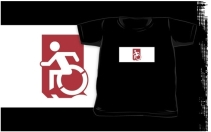 Accessible Means of Egress Icon Exit Sign Wheelchair Wheelie Running Man Symbol by Lee Wilson PWD Disability Emergency Evacuation Kids T-shirts 90