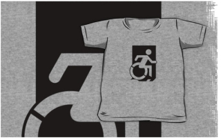 Accessible Means of Egress Icon Exit Sign Wheelchair Wheelie Running Man Symbol by Lee Wilson PWD Disability Emergency Evacuation Kids T-shirts 92