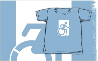Accessible Means of Egress Icon Exit Sign Wheelchair Wheelie Running Man Symbol by Lee Wilson PWD Disability Emergency Evacuation Kids T-shirts 94