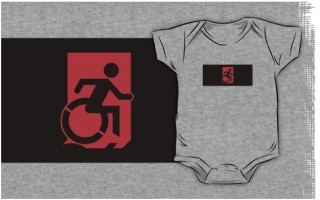 Accessible Means of Egress Icon Exit Sign Wheelchair Wheelie Running Man Symbol by Lee Wilson PWD Disability Emergency Evacuation Kids T-shirts 99
