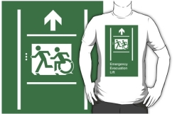Accessible Means of Egress Icon Exit Sign Wheelchair Wheelie Running Man Symbol by Lee Wilson PWD Disability Emergency Evacuation Lift Elevator Adult T-shirt 10