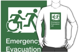 Accessible Means of Egress Icon Exit Sign Wheelchair Wheelie Running Man Symbol by Lee Wilson PWD Disability Emergency Evacuation Lift Elevator Adult T-shirt 11