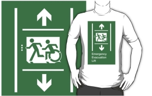 Accessible Means of Egress Icon Exit Sign Wheelchair Wheelie Running Man Symbol by Lee Wilson PWD Disability Emergency Evacuation Lift Elevator Adult T-shirt 12