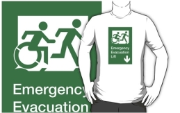 Accessible Means of Egress Icon Exit Sign Wheelchair Wheelie Running Man Symbol by Lee Wilson PWD Disability Emergency Evacuation Lift Elevator Adult T-shirt 2