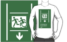Accessible Means of Egress Icon Exit Sign Wheelchair Wheelie Running Man Symbol by Lee Wilson PWD Disability Emergency Evacuation Lift Elevator Adult T-shirt 3