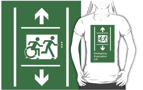 Accessible Means of Egress Icon Exit Sign Wheelchair Wheelie Running Man Symbol by Lee Wilson PWD Disability Emergency Evacuation Lift Elevator Adult T-shirt 5