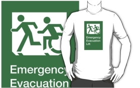 Accessible Means of Egress Icon Exit Sign Wheelchair Wheelie Running Man Symbol by Lee Wilson PWD Disability Emergency Evacuation Lift Elevator Adult T-shirt 6