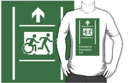 Accessible Means of Egress Icon Exit Sign Wheelchair Wheelie Running Man Symbol by Lee Wilson PWD Disability Emergency Evacuation Lift Elevator Adult T-shirt 7