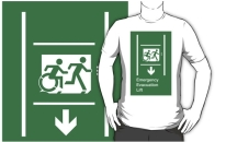 Accessible Means of Egress Icon Exit Sign Wheelchair Wheelie Running Man Symbol by Lee Wilson PWD Disability Emergency Evacuation Lift Elevator Adult T-shirt 8