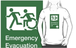 Accessible Means of Egress Icon Exit Sign Wheelchair Wheelie Running Man Symbol by Lee Wilson PWD Disability Emergency Evacuation Lift Elevator Adult T-shirt 9
