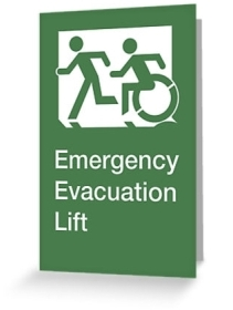 Accessible Means of Egress Icon Exit Sign Wheelchair Wheelie Running Man Symbol by Lee Wilson PWD Disability Emergency Evacuation Lift Elevator Greeting Card 1