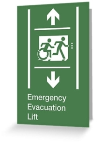 Accessible Means of Egress Icon Exit Sign Wheelchair Wheelie Running Man Symbol by Lee Wilson PWD Disability Emergency Evacuation Lift Elevator Greeting Card 10