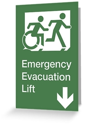 Accessible Means of Egress Icon Exit Sign Wheelchair Wheelie Running Man Symbol by Lee Wilson PWD Disability Emergency Evacuation Lift Elevator Greeting Card 11