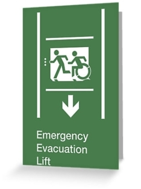 Accessible Means of Egress Icon Exit Sign Wheelchair Wheelie Running Man Symbol by Lee Wilson PWD Disability Emergency Evacuation Lift Elevator Greeting Card 12