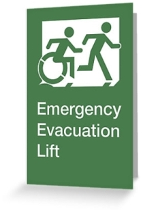 Accessible Means of Egress Icon Exit Sign Wheelchair Wheelie Running Man Symbol by Lee Wilson PWD Disability Emergency Evacuation Lift Elevator Greeting Card 2