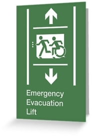 Accessible Means of Egress Icon Exit Sign Wheelchair Wheelie Running Man Symbol by Lee Wilson PWD Disability Emergency Evacuation Lift Elevator Greeting Card 3