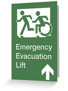 Accessible Means of Egress Icon Exit Sign Wheelchair Wheelie Running Man Symbol by Lee Wilson PWD Disability Emergency Evacuation Lift Elevator Greeting Card 4