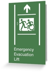 Accessible Means of Egress Icon Exit Sign Wheelchair Wheelie Running Man Symbol by Lee Wilson PWD Disability Emergency Evacuation Lift Elevator Greeting Card 5