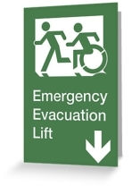 Accessible Means of Egress Icon Exit Sign Wheelchair Wheelie Running Man Symbol by Lee Wilson PWD Disability Emergency Evacuation Lift Elevator Greeting Card 6