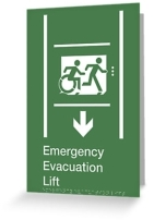 Accessible Means of Egress Icon Exit Sign Wheelchair Wheelie Running Man Symbol by Lee Wilson PWD Disability Emergency Evacuation Lift Elevator Greeting Card 7