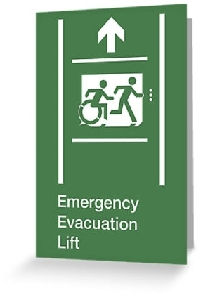 Accessible Means of Egress Icon Exit Sign Wheelchair Wheelie Running Man Symbol by Lee Wilson PWD Disability Emergency Evacuation Lift Elevator Greeting Card 8