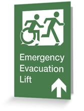 Accessible Means of Egress Icon Exit Sign Wheelchair Wheelie Running Man Symbol by Lee Wilson PWD Disability Emergency Evacuation Lift Elevator Greeting Card 9