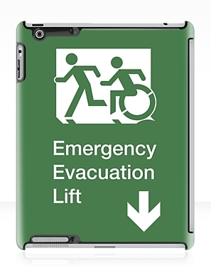 Accessible Means of Egress Icon Exit Sign Wheelchair Wheelie Running Man Symbol by Lee Wilson PWD Disability Emergency Evacuation Lift Elevator iPad Case 1