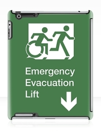 Accessible Means of Egress Icon Exit Sign Wheelchair Wheelie Running Man Symbol by Lee Wilson PWD Disability Emergency Evacuation Lift Elevator iPad Case 10