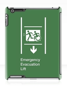 Accessible Means of Egress Icon Exit Sign Wheelchair Wheelie Running Man Symbol by Lee Wilson PWD Disability Emergency Evacuation Lift Elevator iPad Case 11
