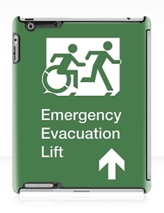 Accessible Means of Egress Icon Exit Sign Wheelchair Wheelie Running Man Symbol by Lee Wilson PWD Disability Emergency Evacuation Lift Elevator iPad Case 12