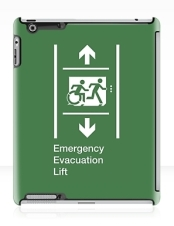 Accessible Means of Egress Icon Exit Sign Wheelchair Wheelie Running Man Symbol by Lee Wilson PWD Disability Emergency Evacuation Lift Elevator iPad Case 2