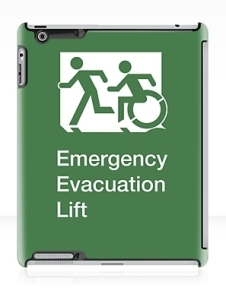 Accessible Means of Egress Icon Exit Sign Wheelchair Wheelie Running Man Symbol by Lee Wilson PWD Disability Emergency Evacuation Lift Elevator iPad Case 3