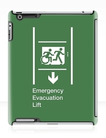 Accessible Means of Egress Icon Exit Sign Wheelchair Wheelie Running Man Symbol by Lee Wilson PWD Disability Emergency Evacuation Lift Elevator iPad Case 5