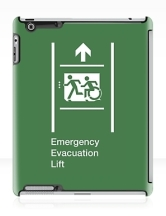Accessible Means of Egress Icon Exit Sign Wheelchair Wheelie Running Man Symbol by Lee Wilson PWD Disability Emergency Evacuation Lift Elevator iPad Case 7