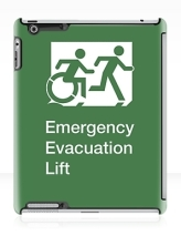 Accessible Means of Egress Icon Exit Sign Wheelchair Wheelie Running Man Symbol by Lee Wilson PWD Disability Emergency Evacuation Lift Elevator iPad Case 8