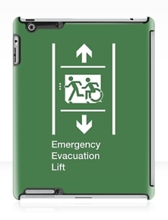 Accessible Means of Egress Icon Exit Sign Wheelchair Wheelie Running Man Symbol by Lee Wilson PWD Disability Emergency Evacuation Lift Elevator iPad Case 9