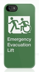 Accessible Means of Egress Icon Exit Sign Wheelchair Wheelie Running Man Symbol by Lee Wilson PWD Disability Emergency Evacuation Lift Elevator iPhone Case 1