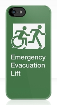 Accessible Means of Egress Icon Exit Sign Wheelchair Wheelie Running Man Symbol by Lee Wilson PWD Disability Emergency Evacuation Lift Elevator iPhone Case 10