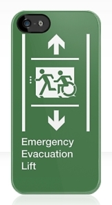 Accessible Means of Egress Icon Exit Sign Wheelchair Wheelie Running Man Symbol by Lee Wilson PWD Disability Emergency Evacuation Lift Elevator iPhone Case 11