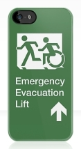 Accessible Means of Egress Icon Exit Sign Wheelchair Wheelie Running Man Symbol by Lee Wilson PWD Disability Emergency Evacuation Lift Elevator iPhone Case 12