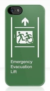 Accessible Means of Egress Icon Exit Sign Wheelchair Wheelie Running Man Symbol by Lee Wilson PWD Disability Emergency Evacuation Lift Elevator iPhone Case 2
