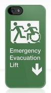 Accessible Means of Egress Icon Exit Sign Wheelchair Wheelie Running Man Symbol by Lee Wilson PWD Disability Emergency Evacuation Lift Elevator iPhone Case 3