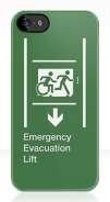 Accessible Means of Egress Icon Exit Sign Wheelchair Wheelie Running Man Symbol by Lee Wilson PWD Disability Emergency Evacuation Lift Elevator iPhone Case 4