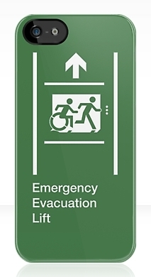Accessible Means of Egress Icon Exit Sign Wheelchair Wheelie Running Man Symbol by Lee Wilson PWD Disability Emergency Evacuation Lift Elevator iPhone Case 5