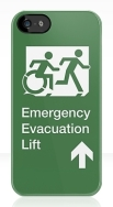 Accessible Means of Egress Icon Exit Sign Wheelchair Wheelie Running Man Symbol by Lee Wilson PWD Disability Emergency Evacuation Lift Elevator iPhone Case 6